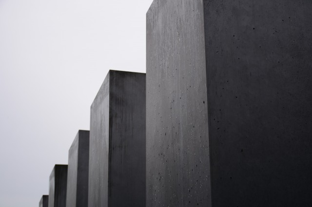 Holocaust Memorial, cold, bleak and grey.