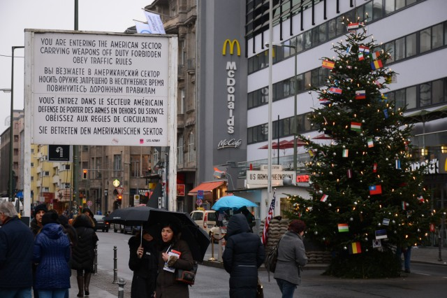 The evils of the West loom over Checkpoint Charlie