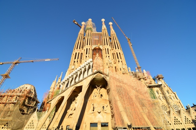 The Segrada Familia under construction.
