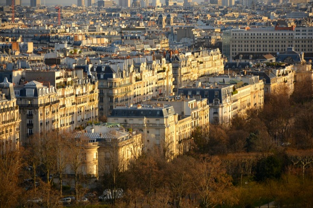 The streets of Paris in the afternoon sun