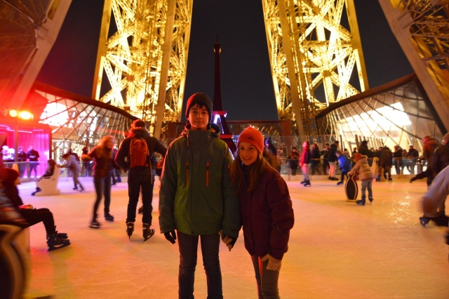 We are skating on the Eiffel Tower